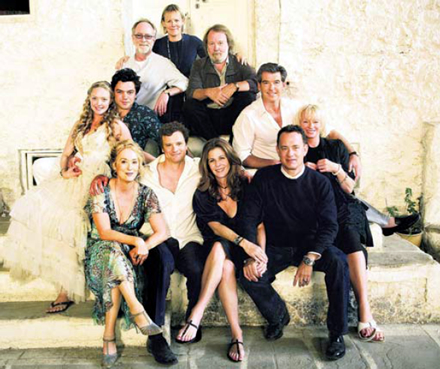 Back row: Producer Gary Goetzman, Director Phyllida Lloyd, Benny Andersson. Middle row: Amanda Seyfried, Dominic Cooper and Pierce Brosnan and producer Judy Craymer. Front: Meryl Streep and Colin Firth with producers Rita Wilson and Tom Hanks.