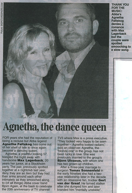 Agnetha pictured in the press