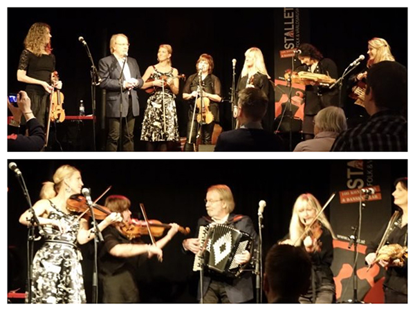Benny Andersson on stage with folk group Systerpolskan